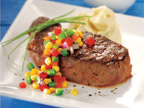 Grilled New York Strip Steaks with Rainbow Pepper Relish