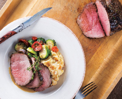 Pepper-Crusted Sirloin Roast with Brandy Sauce