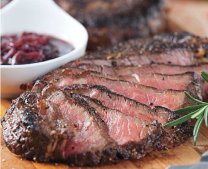 Pepper-Crusted Steak with Red Wine-Shallot Sauce