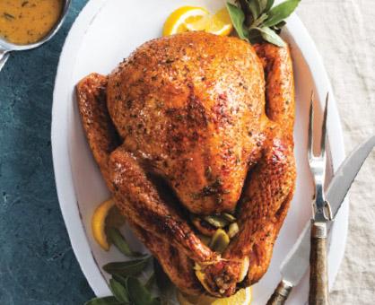 Honey-Glazed Roasted Turkey with Lemon-Sage Gravy