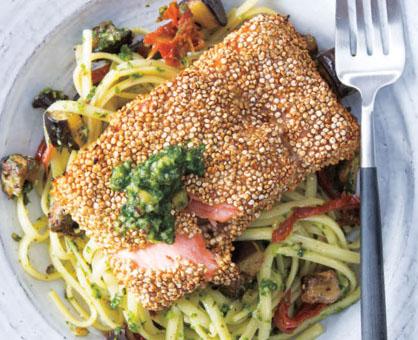 Quinoa-Crusted Salmon over Kale Pesto Linguine