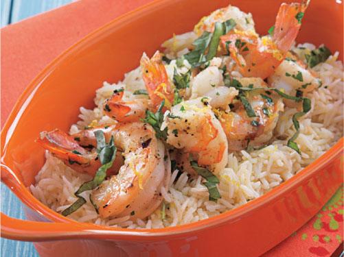 Shrimp Scampi over Rice