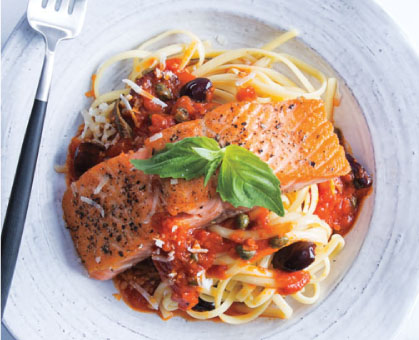 Skillet Salmon over Arrabbiata Pasta