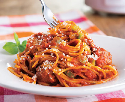 Slow Cooker Spaghetti with Italian Sausage