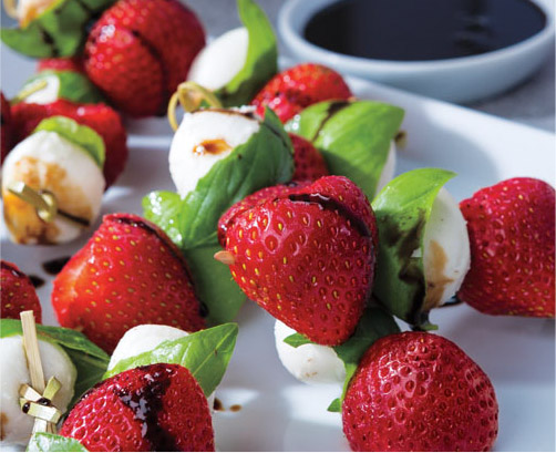 Strawberry, Basil, Mozzarella Skewers with Balsamic Reduction